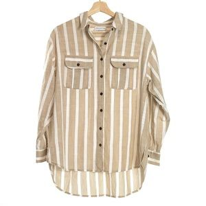 Urban Outfitters Striped Button Down Shirt S Tan